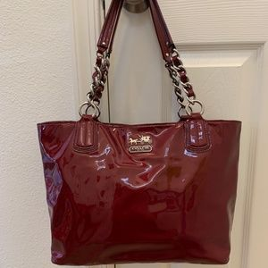 Coach Purse Handbag Red Patent Leather Tote Bag